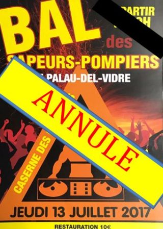 Bal des Sapeurs-Pompiers ANNULE