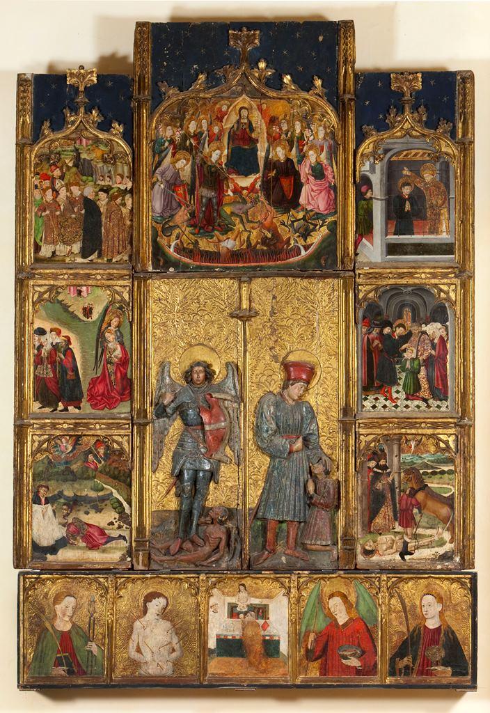 Retable de St Michel et St Hippolyte commandé au peintre Arnau Gassiès, par un maître verrier de Palau, Pierre de Montroig, en 1454